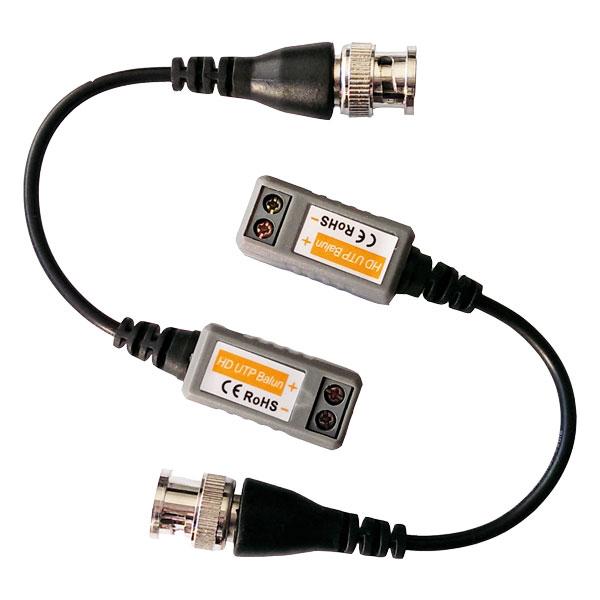 Комплект пассивных приёмо-передатчиков AHD видеосигнала по витой паре с разъёмами BNC на кабеле