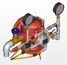 Узел управления дренчерный УУ-Д150/1,2Э12-ВФ.0,4С с клапаном КСД-150 типа КМУ (с эл. пуском) - 12В (фланец-муфта)