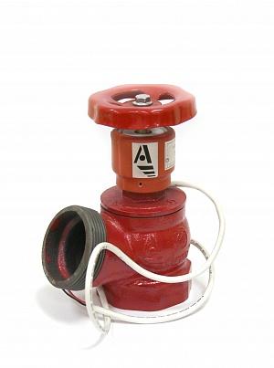 Клапан пожарный чугунный КПЧ угловой 125° (муфта-цапка) с датчиком положения