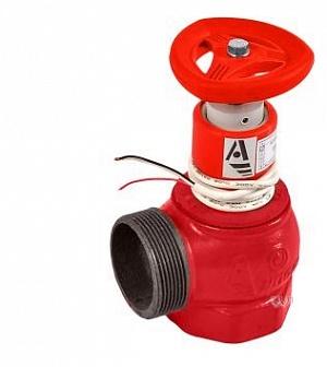 Клапан пожарный чугунный КПЧМ угловой 90° (муфта-цапка) с датчиком положения